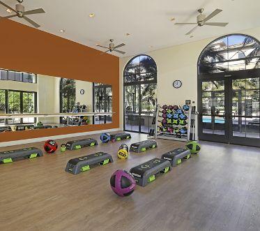 Interior view of fitness center at Malibu - Villas Playa Vista Apartment Homes in Los Angeles, CA.