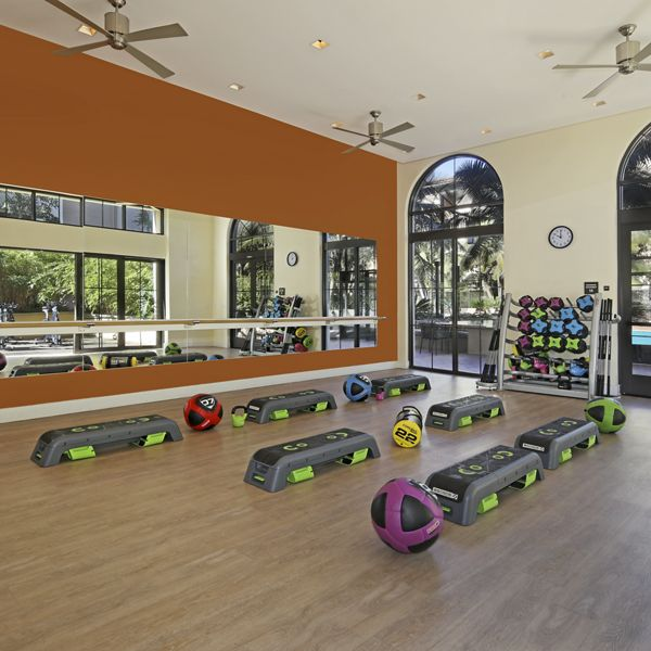 Interior view of fitness center at Malibu - Villas Playa Vista Apartment Homes in Los Angeles, CA.