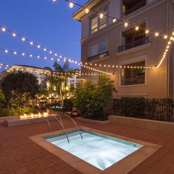 Exterior view of jacuzzi at Malibu - Villas Playa Vista Apartment Homes in Los Angeles, CA.