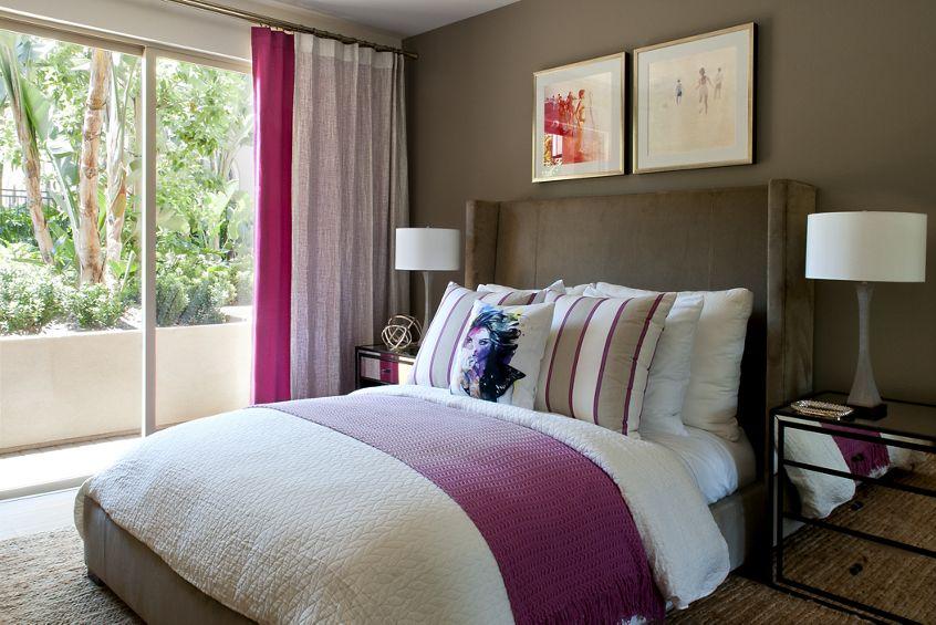 Interior view of bedrooom at Montecito - Villas at Playa Vista Apartment Homes in Los Angeles, CA.