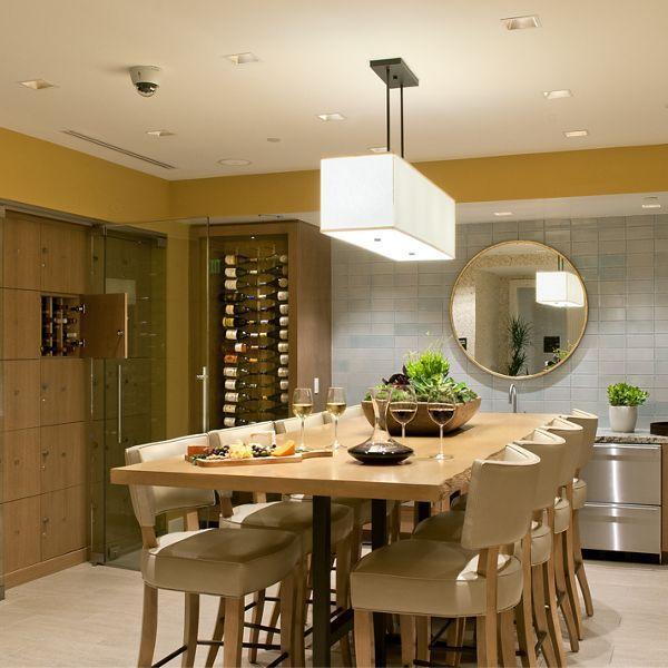 Interior view of private wine cellar at Montecito - Villas at Playa Vista Apartment Homes in Los Angeles, CA.