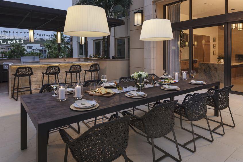 Exterior view of alfresco terrace at Montecito - Villas at Playa Vista Apartment Homes in Los Angeles, CA.