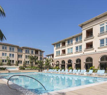 View of resort pool at Montecito - Villas Playa Vista Apartment Homes in Los Angeles, CA.