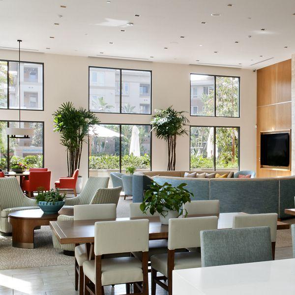 Interior view of clubhouse at Sausalito - Villas at Playa Vista Apartment Homes in Los Angeles, CA.