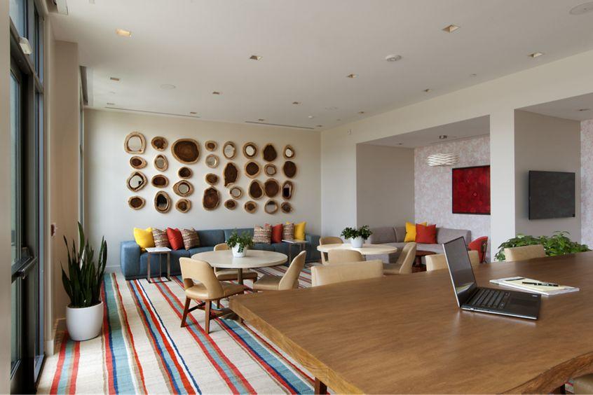 Interior view of lounge & conference room at Sausalito - Villas at Playa Vista Apartment Homes in Los Angeles, CA.
