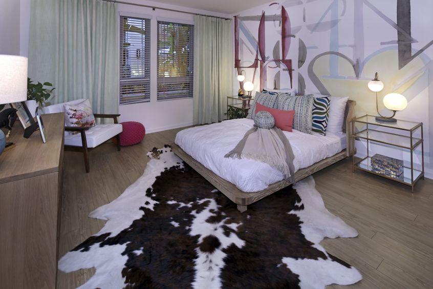 Interior view of bedroom in Plan 36 at Sausalito - Villas at Playa Vista Apartment Homes in Los Angeles, CA.