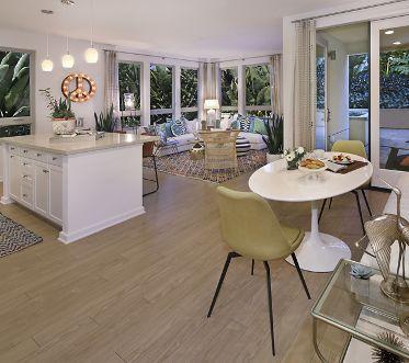 Interior view of living room in Plan 36 at Sausalito - Villas at Playa Vista Apartment Homes in Los Angeles, CA.