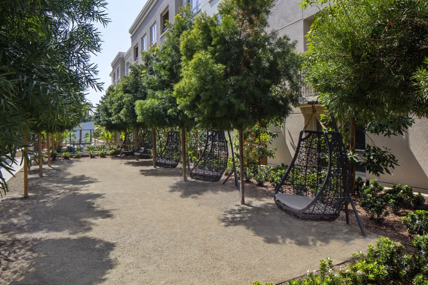 Exterior view of amenities at Sausalito - Villas at Playa Vista Apartment Homes in Los Angeles, CA.