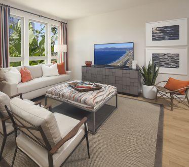 Interior view of living room at Sausalito - Villas at Playa Vista Apartment Homes in Los Angeles, CA.