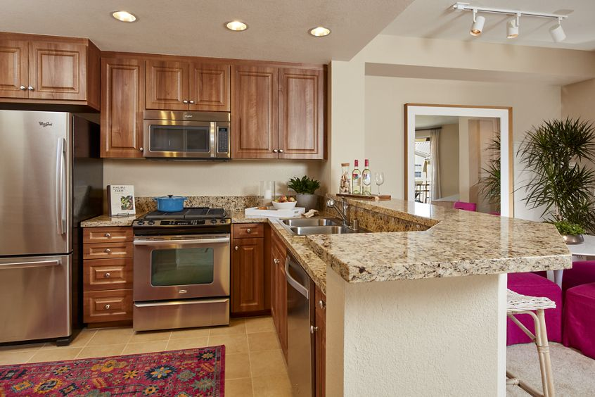 Interior view of kitchen at Cherry Orchard Apartment Homes in Sunnyvale, CA.