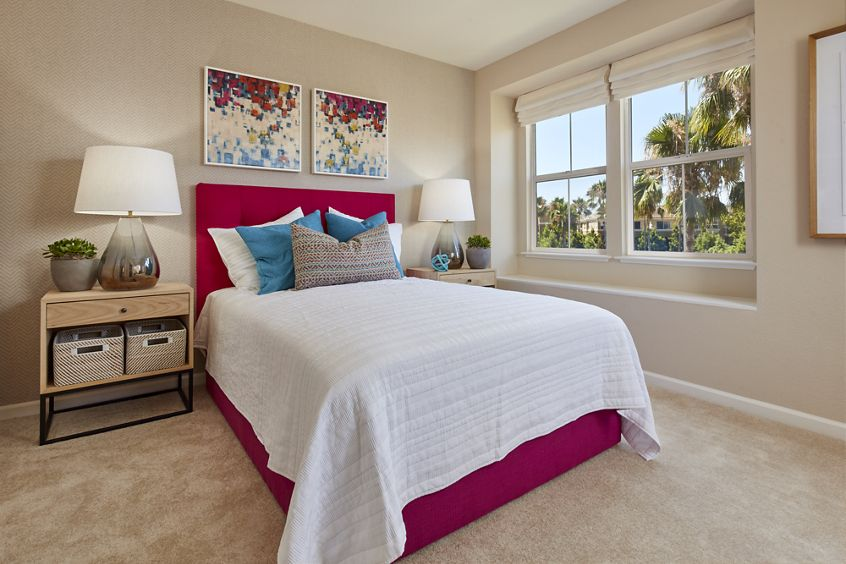Interior view of bedroom at Cherry Orchard Apartment Homes in Sunnyvale, CA.