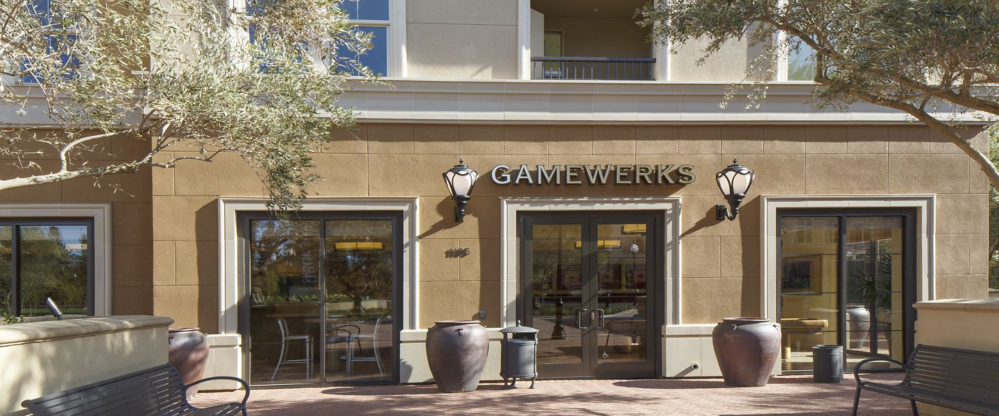 Exterior view of Game Werks at Crescent Village Apartment Homes in San Jose, CA.