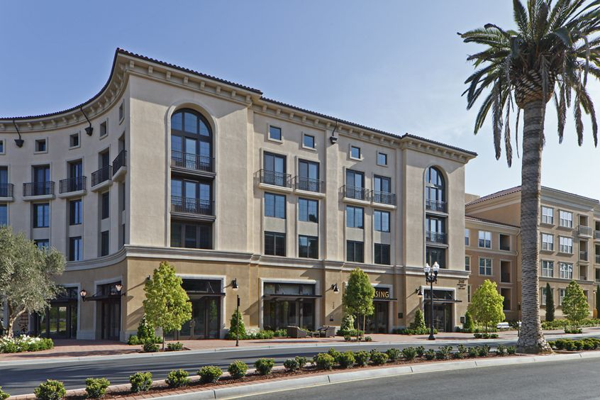 Exterior view of the Leasing Center at Crescent Village Apartment Homes in San Jose, CA.