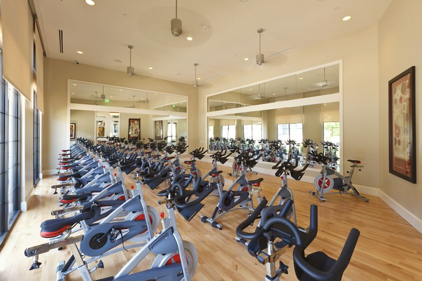 Interior view of the cycling studio at Crescent Village Apartment Homes in San Jose, CA.