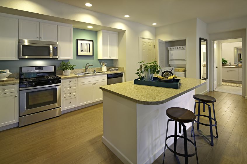 Interior view of a model kitchen at Verona at Crescent Village Apartment Homes in San Jose, CA.