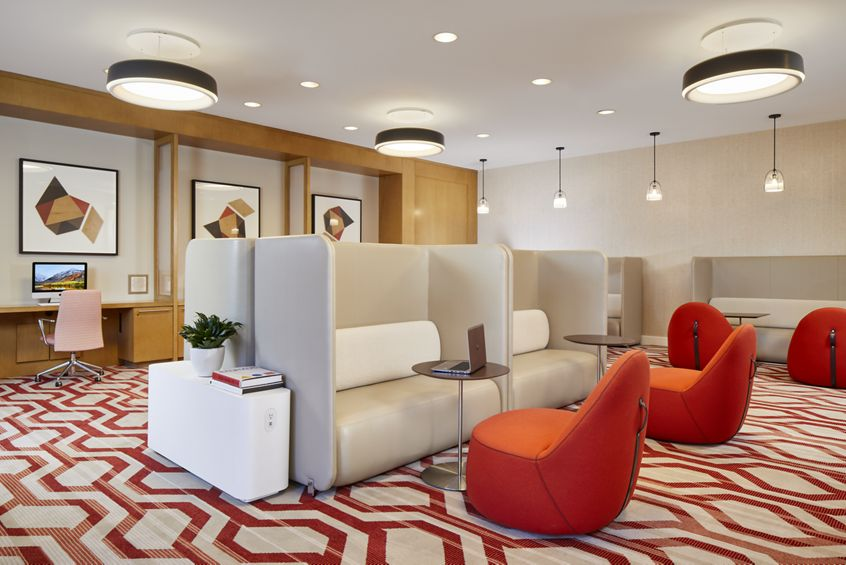 Interior view of Business Center at Crescent Village Apartment Homes in San Jose, CA.