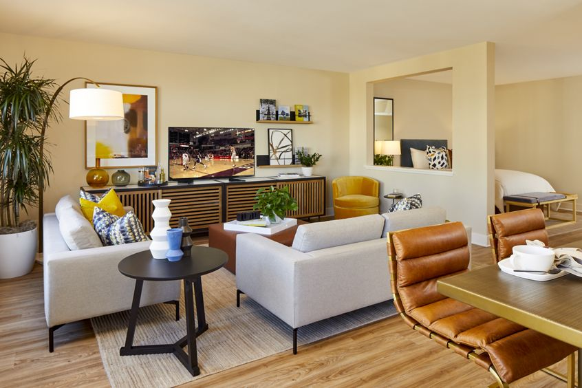 Interior view of Living Room at Crescent Village Apartment Homes in San Jose, CA.