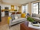 Interior view of Living Room and Kitchen at Crescent Village Apartment Homes in San Jose, CA.