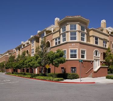 Exterior view of Franklin Street Apartment Homes in Redwood City, CA.