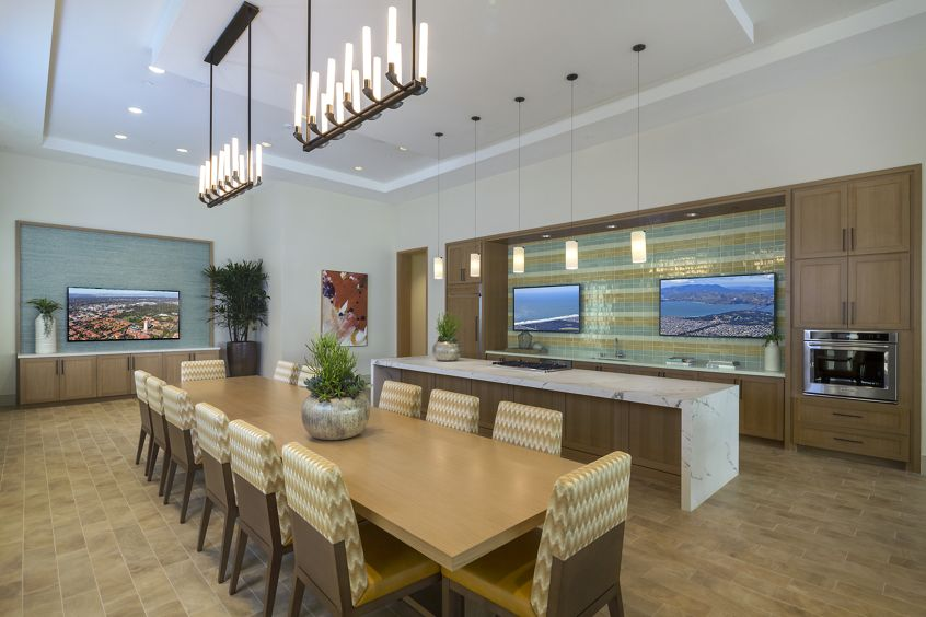 Interior view of the clubhouse kitchen at Monticello Apartment Homes in Santa Clara, CA.