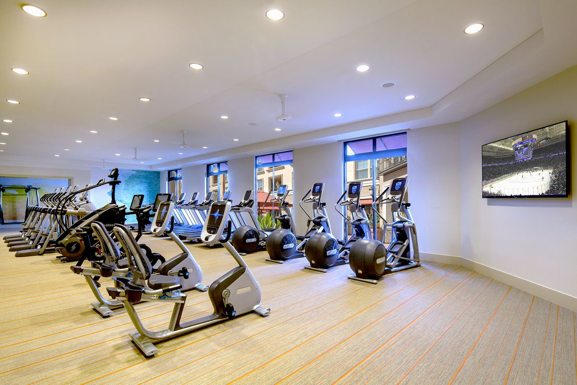 Interior view of the Fitness Center at Monticello Apartment Homes in Santa Clara, CA.