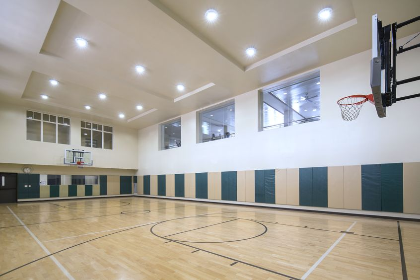 View of an indoor basketball court at North Park Apartment Homes in San Jose, CA.