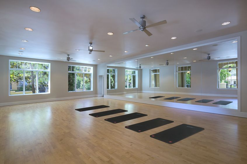 Interior view of a yoga room with yoga mats at North Park Apartment Homes in San Jose, CA.