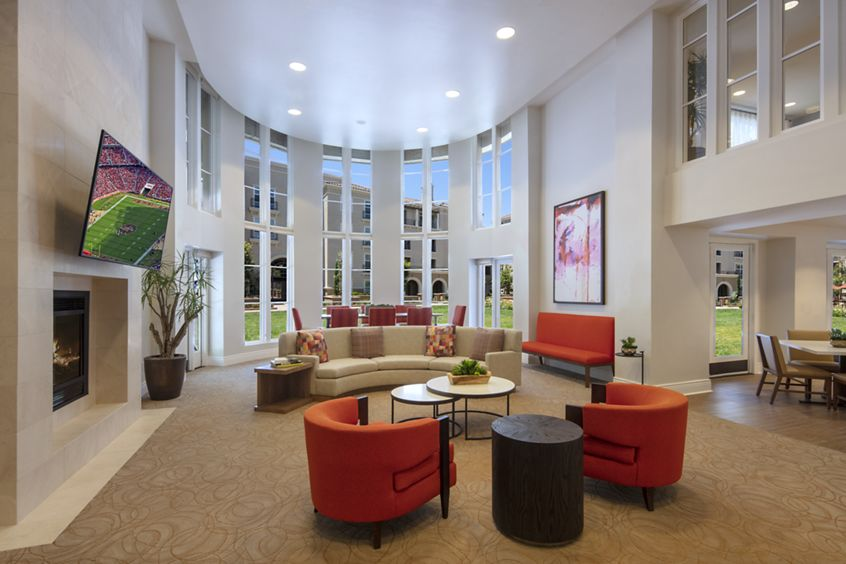 Interior view of clubhouse at The Cypress at North Park Apartment Homes in San Jose, CA.