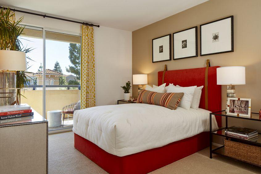 Interior view of bedroom at The Laurels at North Park Apartment Homes in San Jose, CA.
