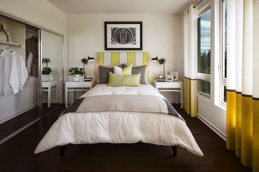 Interior view of bedroom at River View Apartment Homes in San Jose, CA.