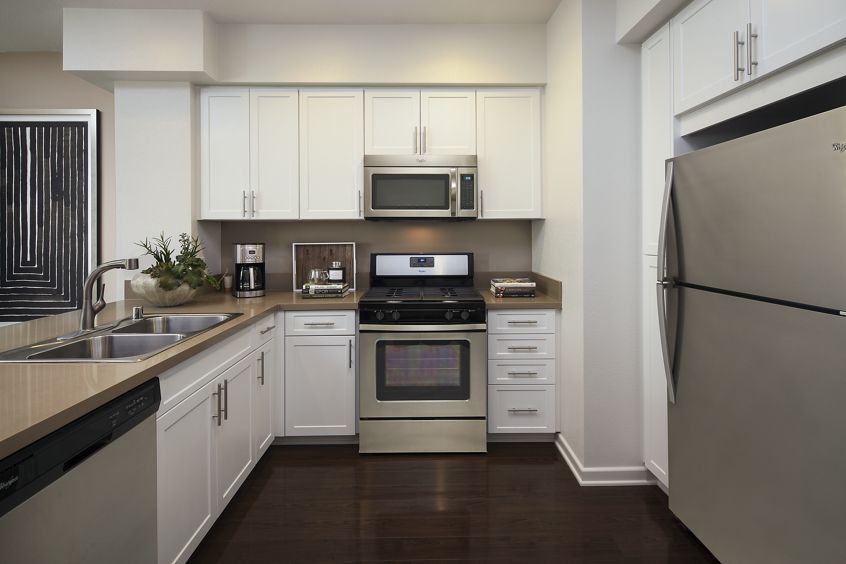 Interior view of kitchen at River View Apartment Homes in San Jose, CA.