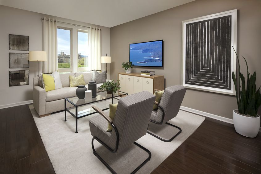Interior view of living room at River View Apartment Homes in San Jose, CA.