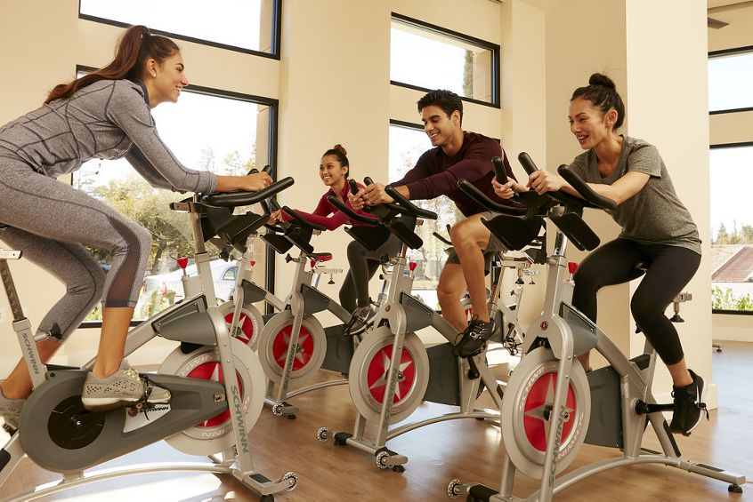 Interior view of fitness center at River View Apartment Homes in San Jose, CA.