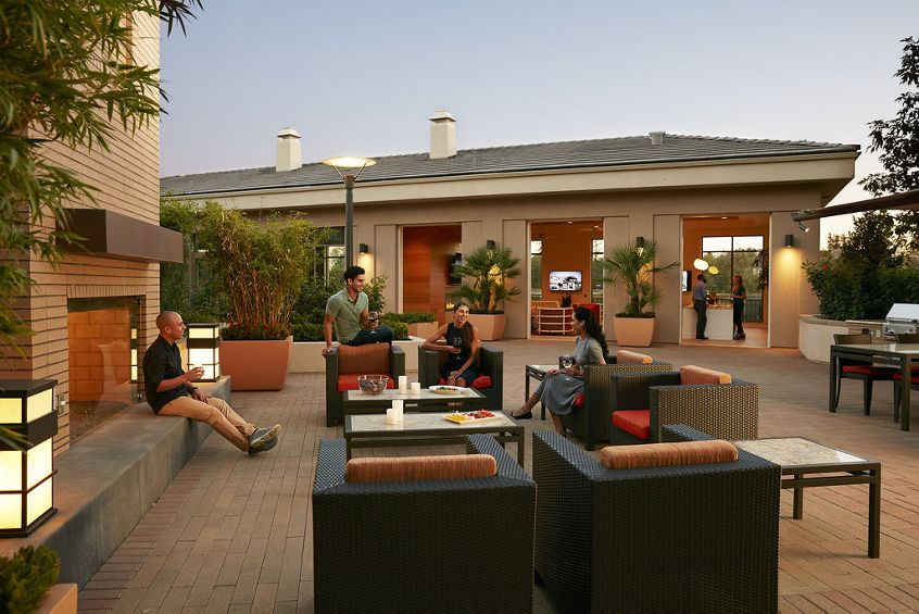 Exterior view of club house at River View Apartment Homes in San Jose, CA.
