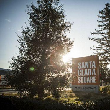 View of a monument sign at Santa Clara Square Apartment Homes in Santa Clara, CA.