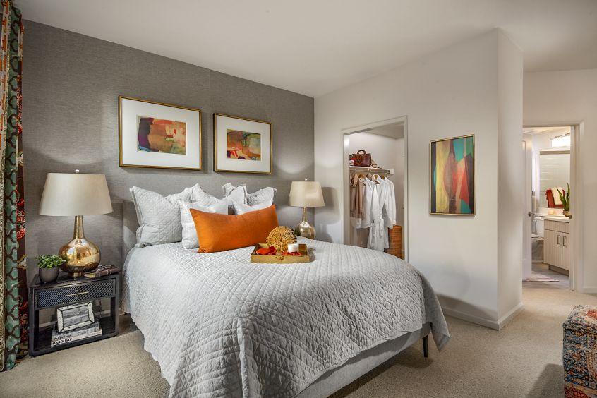 Interior view of a bedroom at Santa Clara Square Apartment Homes in Santa Clara, CA.
