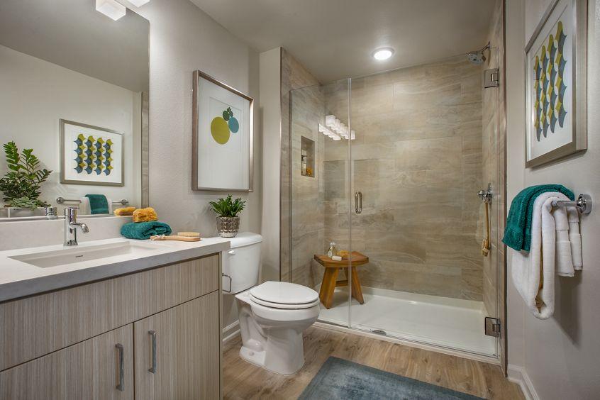 Interior view of a bathroom at Santa Clara Square Apartment Homes in Santa Clara, CA.