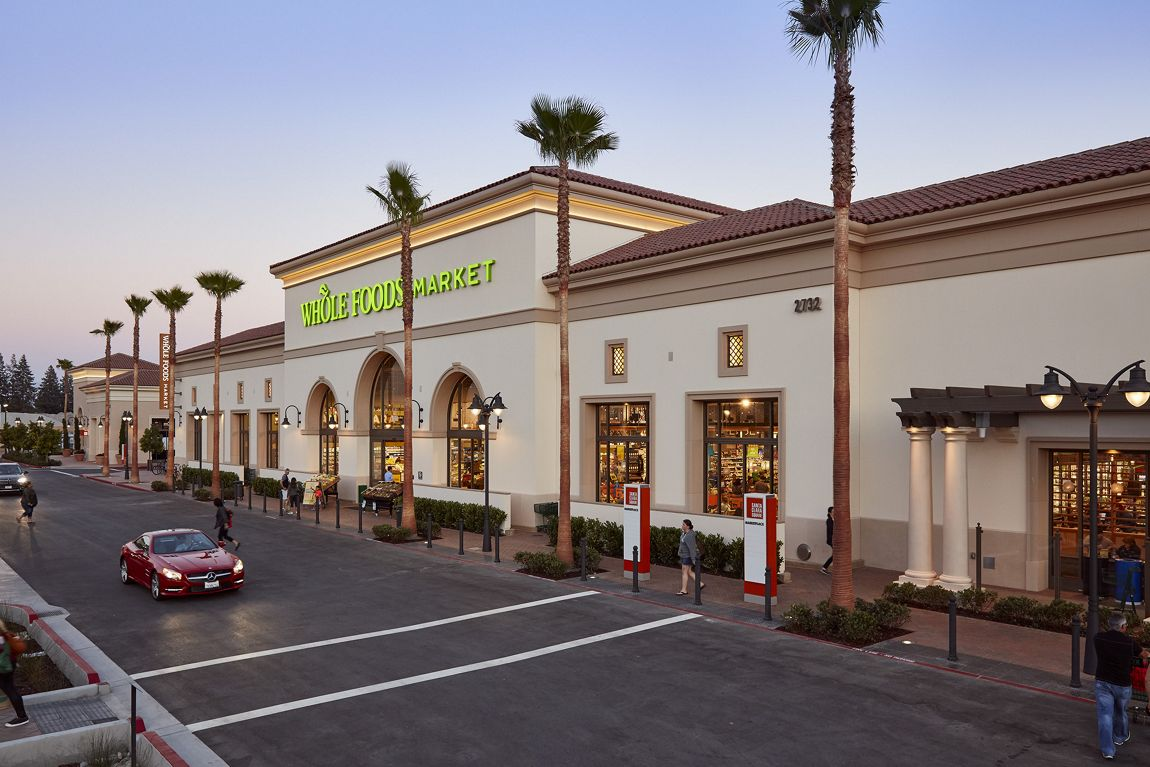 Exterior view of Whole Foods Market at Irvine Company Retail Properties in Santa Clara, CA.