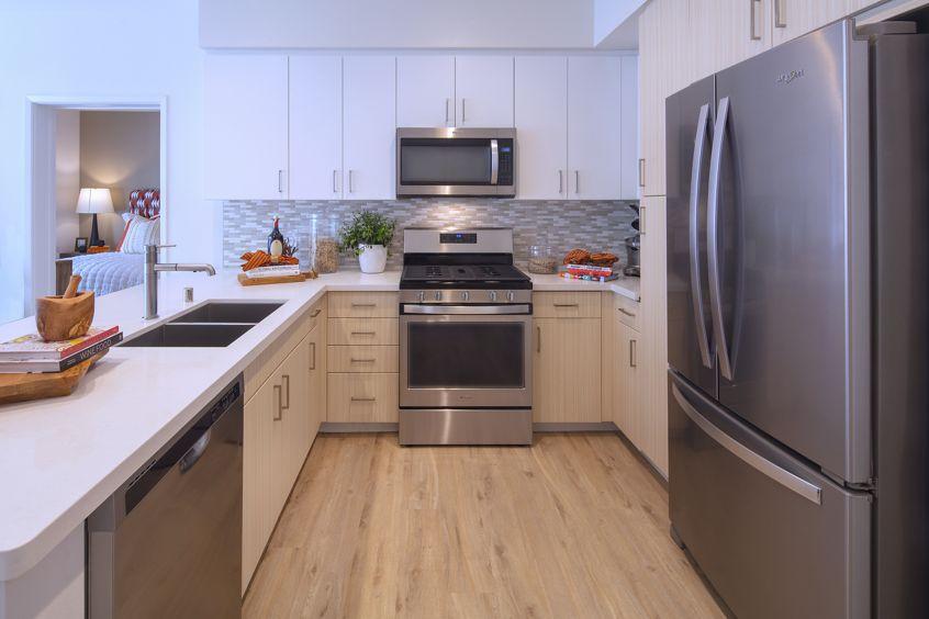 Interior view of Kitchen at Santa Clara Square Apartment Communities in Santa Clara.