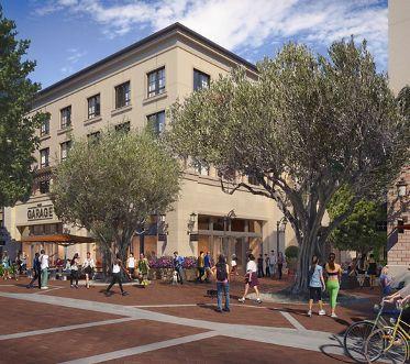 View of building exterior at Santa Clara Square Apartment Homes in Santa Clara, CA.