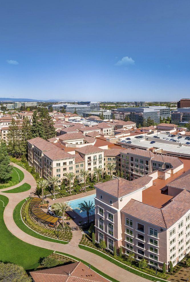 Exterior aerial view of Santa Clara Square Apartment Homes in Santa Clara, CA.