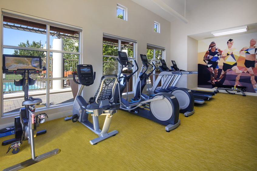 Interior view of the Fitness Center at The Hamptons Apartment Homes in Cupertino, CA.