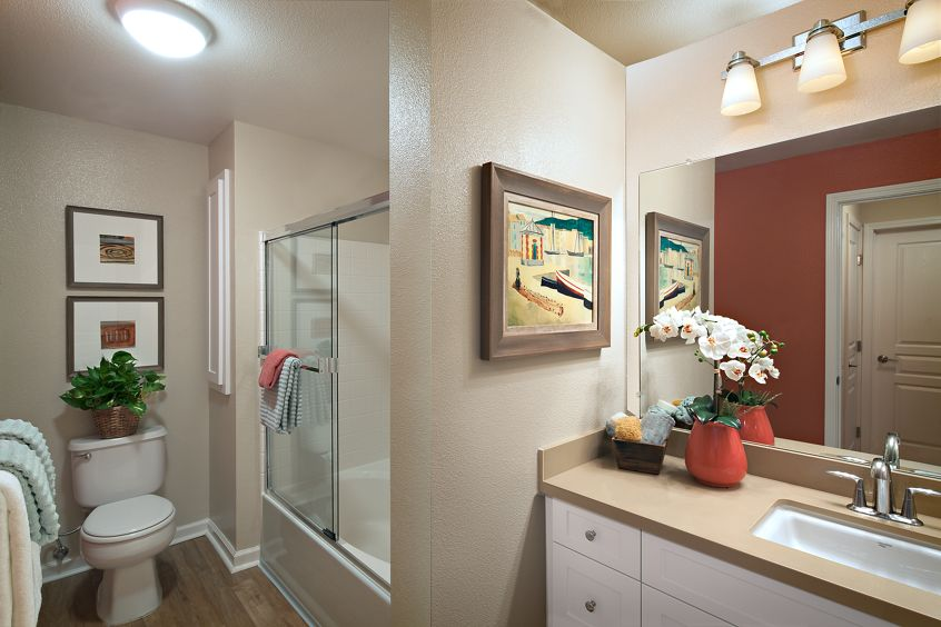 Interior view of a bathroom at The Villas at Bair Island Apartment Homes in Redwood City, CA.