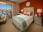 Interior view of a bedroom at The Villas at Bair Island Apartment Homes in Redwood City, CA.