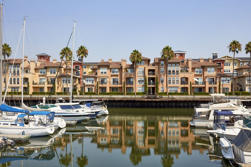 Exterior view of The Villas at Bair Island Apartment Homes in Redwood City, CA.