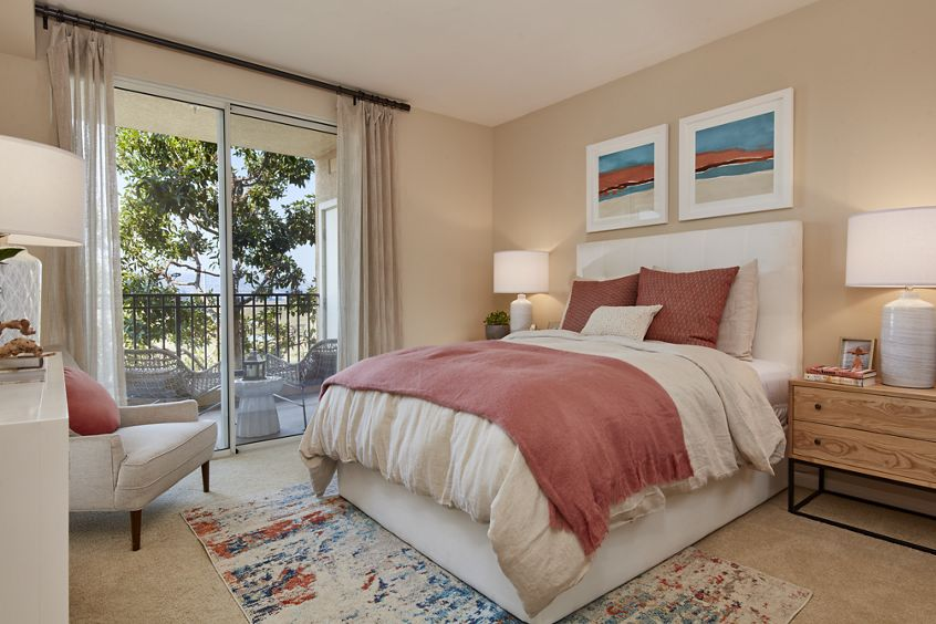 Interior view of bedroom at The Villas at Bair Island Apartment Homes in Redwood City, CA.