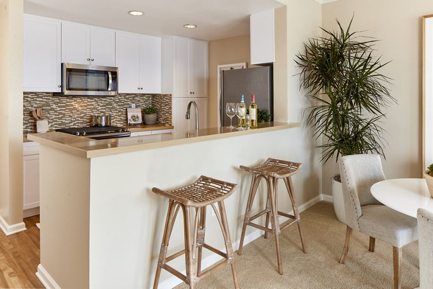 Interior view of kitchen at The Villas at Bair Island Apartment Homes in Redwood City, CA.