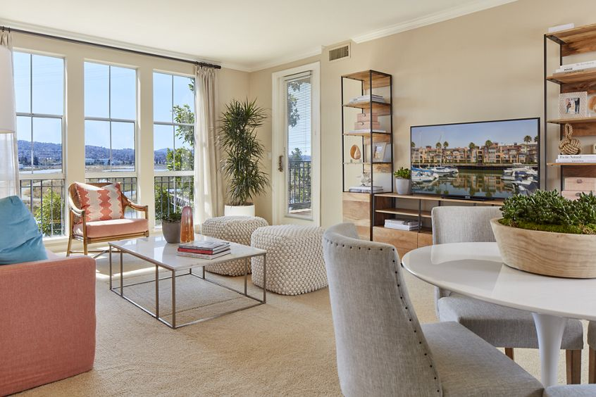 Interior view of living room at The Villas at Bair Island Apartment Homes in Redwood City, CA.