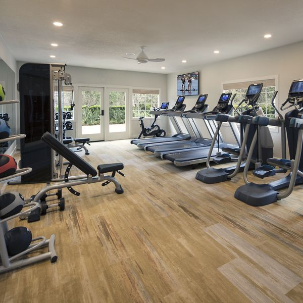 Interior view of fitness center at Aliso Town Center Apartment Homes in Aliso Viejo, CA.