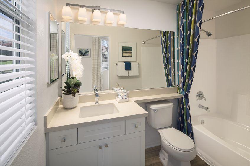 Interior view of a bathroom at Vista Bella Apartment Homes in Aliso Viejo, CA.